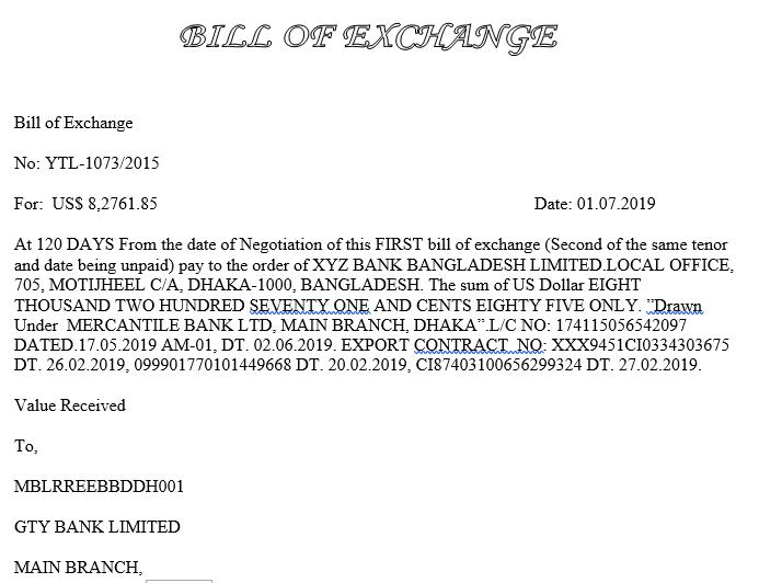Bill Of Exchange Format Auto Garment